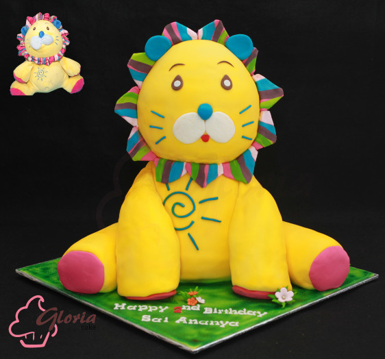 Stuffed Lion. Plush Toys Cake.