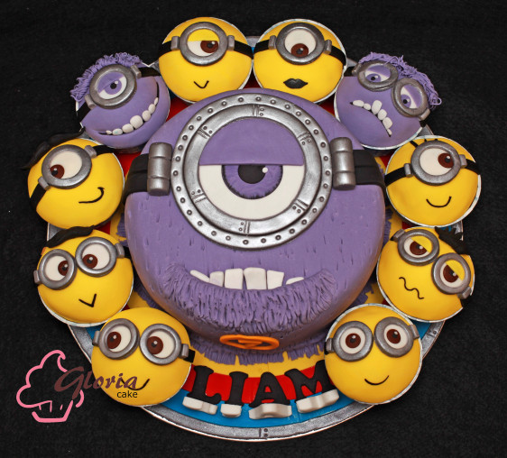 Minions Birthday Cake and Cupcakes