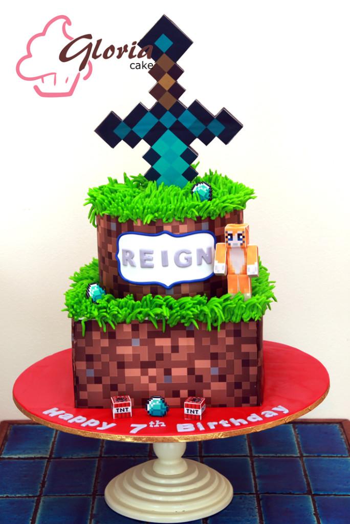 Minecraft With Sword Gloria Cake