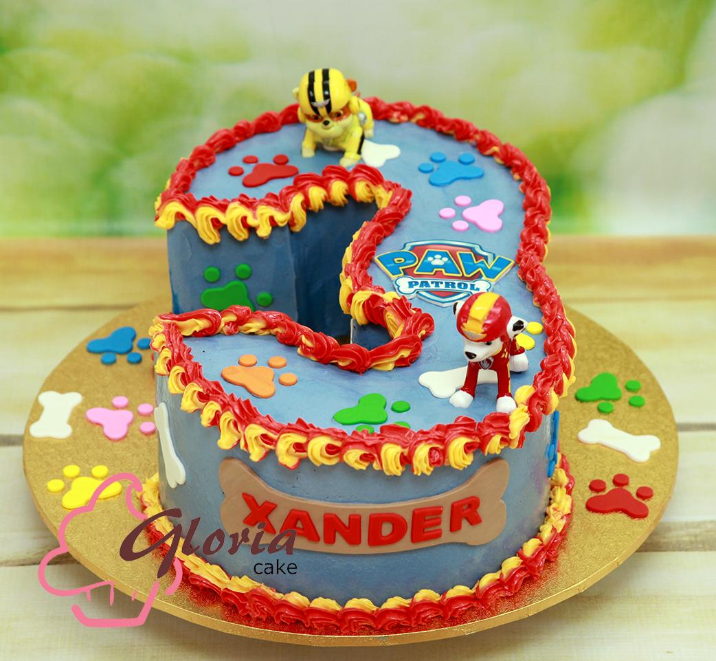 Number 3 Paw Patrol Gloria Cake